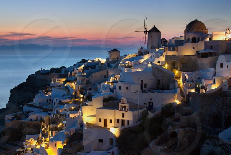 Sunset Oia Santorini Greece photo