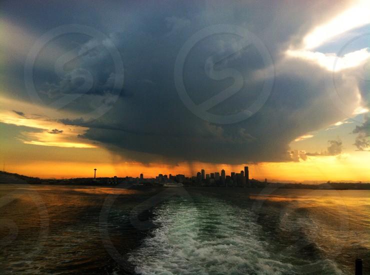 Seattle Stormy Sunrise photo