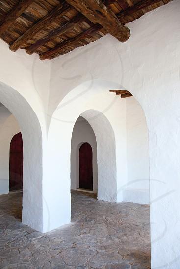 Ibiza Santa Agnes de Corona Ines white church in Balearic islands photo