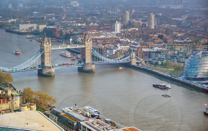 A view of Tower Bridge and the River Thames in London UK. photo