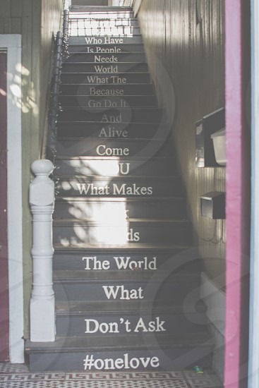 Staircase; words; king street; Charleston; South Carolina; light photo