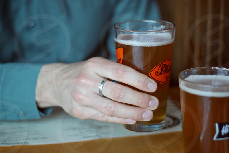 hand glass beer pub drink ring ale photo