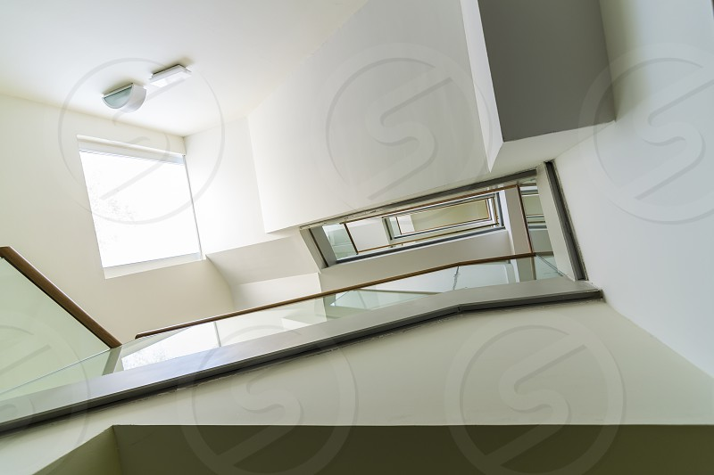 Upstairs in a modern office building photo