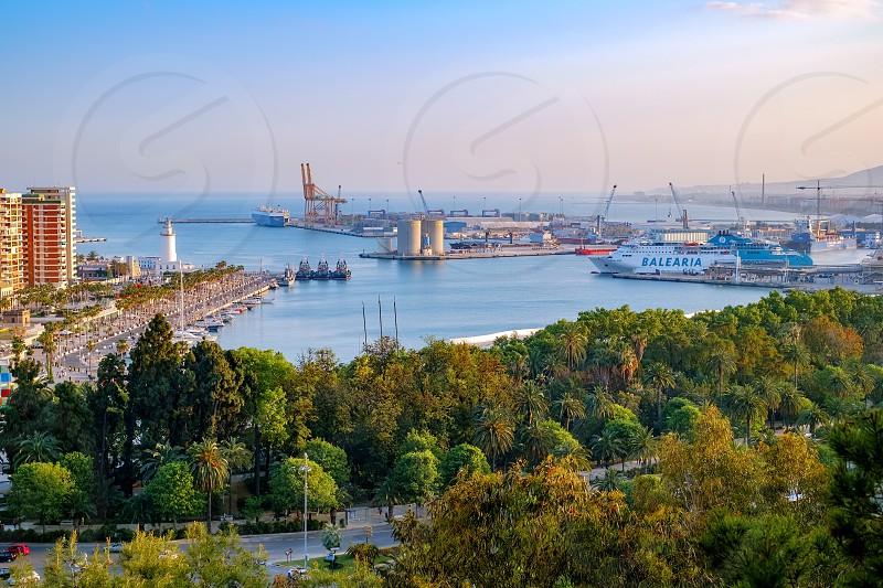 Malaga Spain - April 27 2018. Malaga city and port Costa del sol Spain. photo