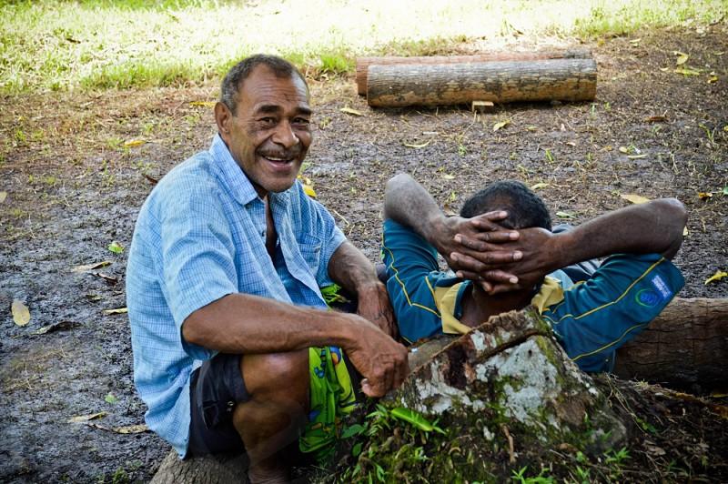 Fijian men relaxing photo
