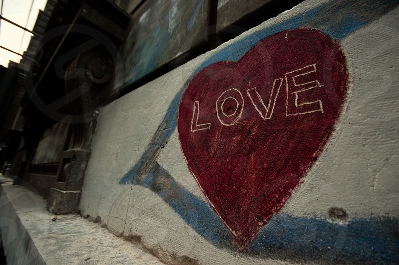 A graffiti heart on a wall in Istanbul. photo