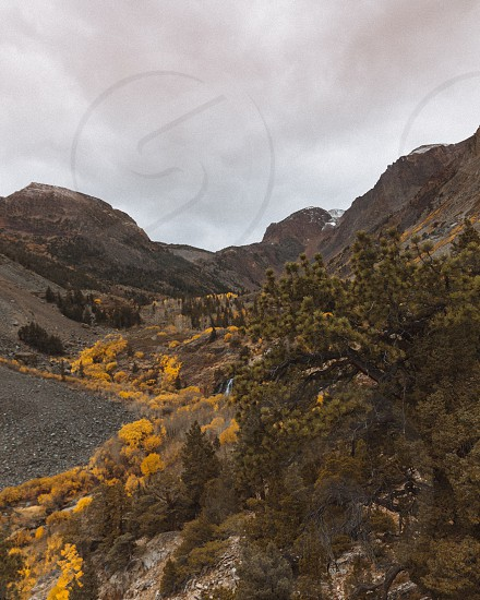Autumn fall mountains landscape California eastern sierras nature west trees leaves  photo