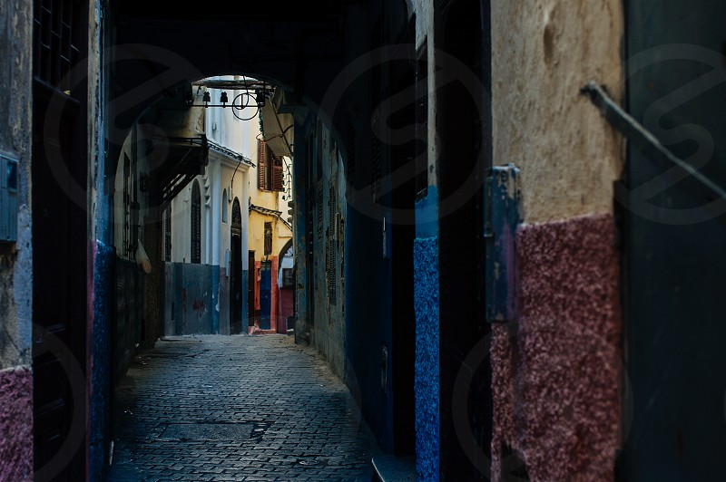 morocco street alley arch tetuan colorful walls colorful city awaiting photo
