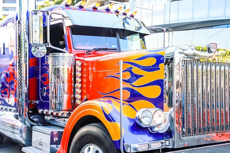 colourful truck semi-trailer Australian roadtrain transporter  photo