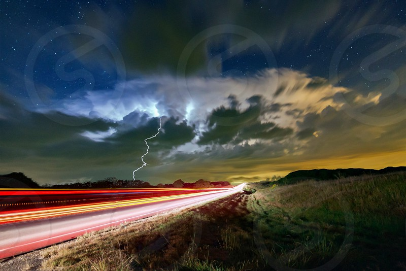 Kansas supercell lightning severe weather tail lights astrophotography light trails photo