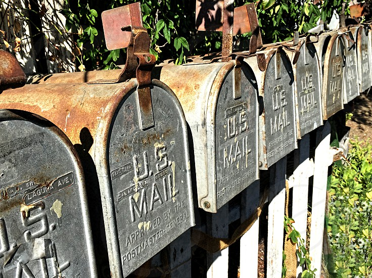 Row of rural mailboxes photo