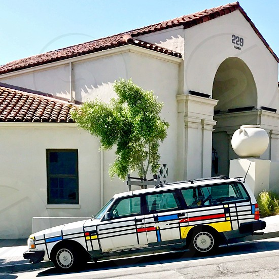 Mondrian-esque painted station wagon  photo