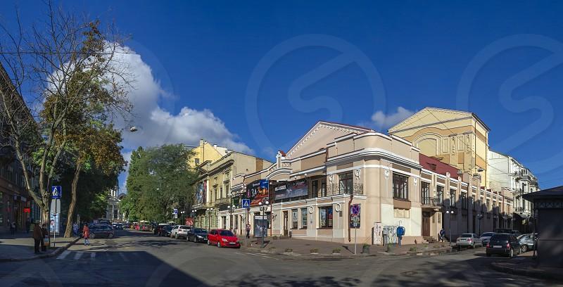 Odessa Ukraine - 09.25.2018. Greek Square in Odessa Ukraine. Panoramic view in a sunny morning photo