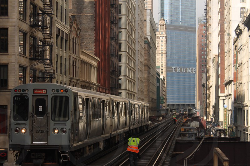 Travel Chicago train workers Trump L photo