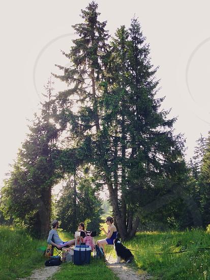 Picnic in the beautiful countryside of Jura Switzerland  photo