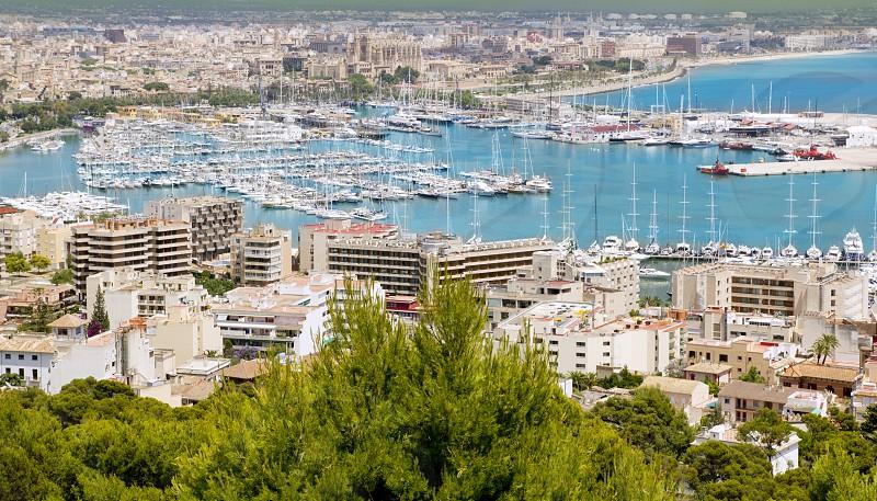 Aerial view of Palma de Mallorca in Majorca Balearic islands Spain photo