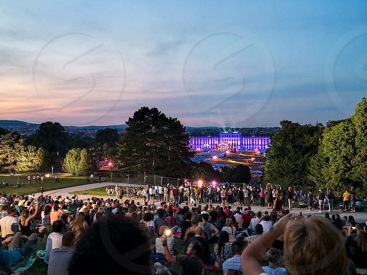 open-air concert of a Summer Night from the magnificent gardens of the Schonbrunn Palace with the Philharmonic Orchestra of Vienna in June 2018 photo