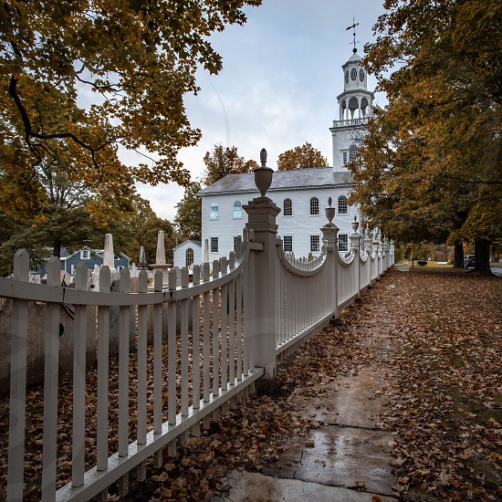Old Church in Vermont during Fall Foliage  photo