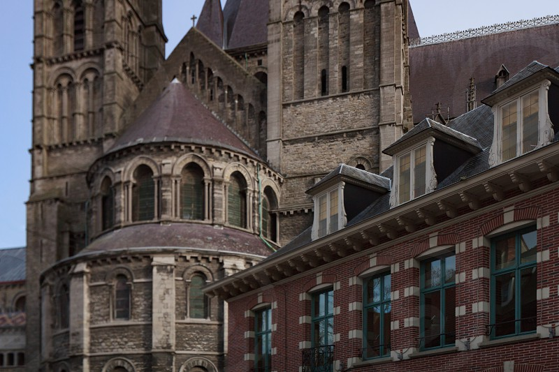 A walk through the beautiful streets of the ancient city in Europe Belgium Mons photo
