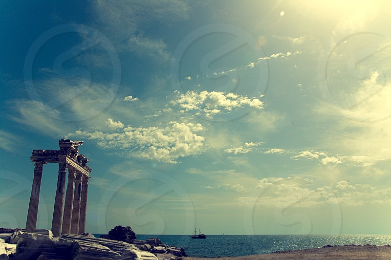 The temple of Apollo on the beach at Side on the Mediterranean coast of Turkey. photo