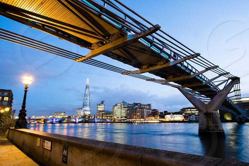 London the shard millennium bridge south bank night river Thames Thames path tourism. photo