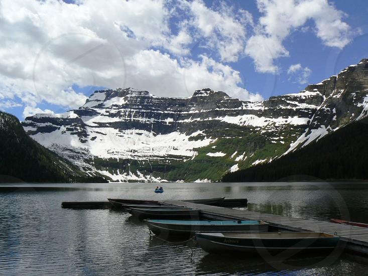 Boats Crandell Lake Waterton Lakes National Park Alberta Canada photo