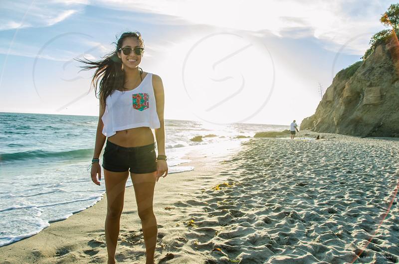 Ocean beach sunset beauty nature girl California  photo