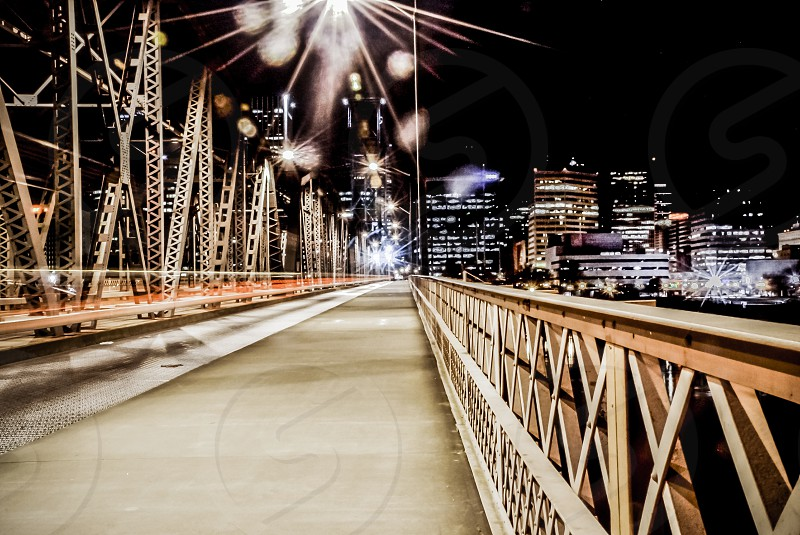 The Hawthorne Bridge in Portland Oregon at night. photo