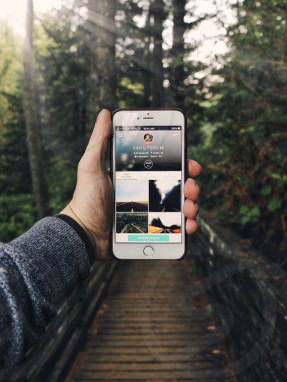 person holding an iphone 6 plus while standing on a wood bridge facing pine trees photo