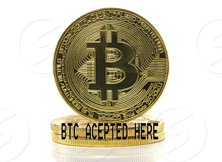 btc or bitcoin with accepted here text isolated on white background photo