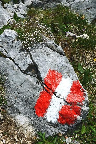 hiking in Rofan mountain aeria in Tyrol (Austria). retro retouch of image. photo