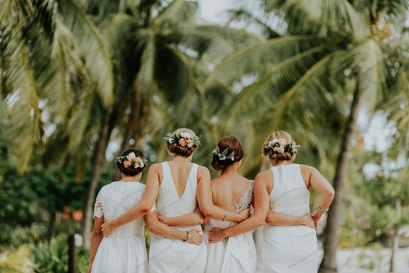 bride bridesmaid wedding celebration friends photo