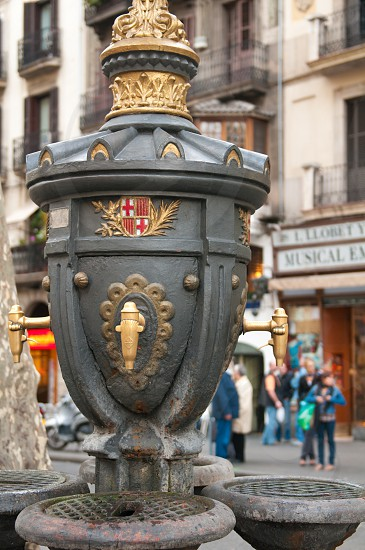 Canaletas font (F.C. Barcelona) in Ramblas avenue Barcelona. photo