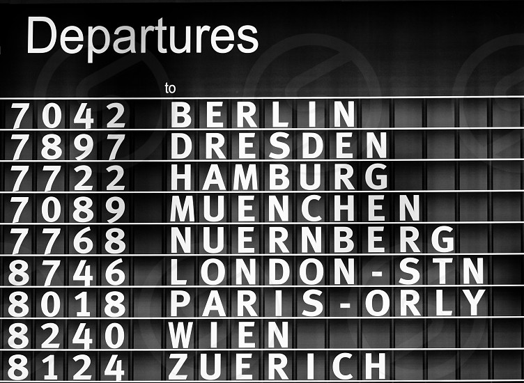 Airport departures information board air travel background photo