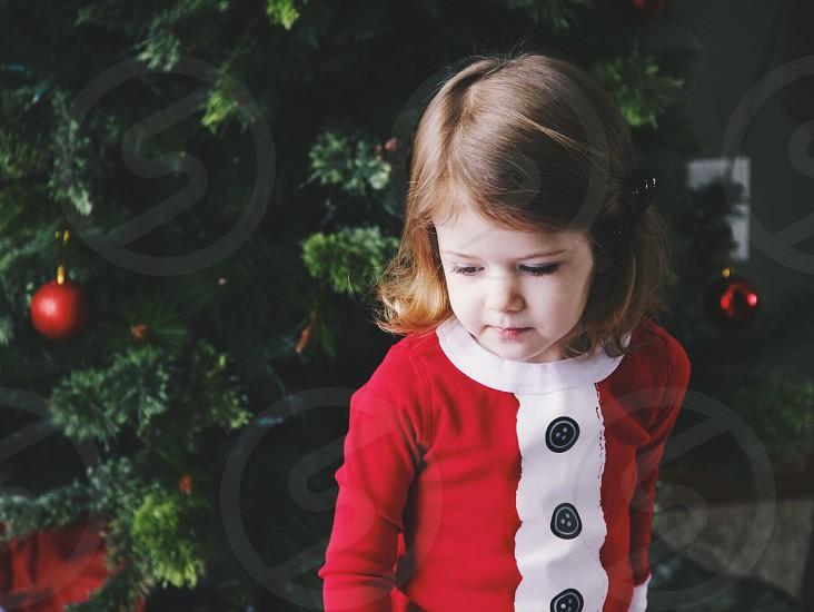 Christmas tree girl Santa pajamas  photo