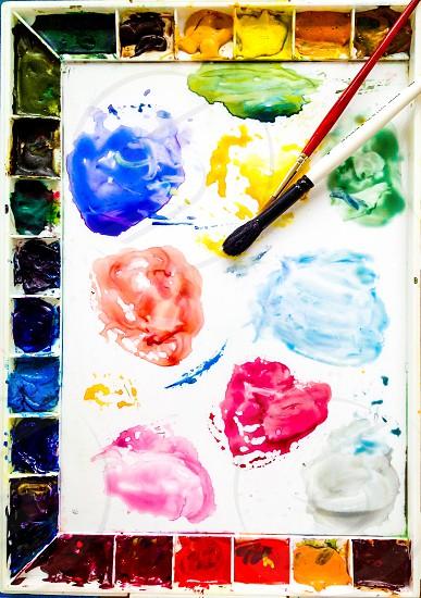Art paint oil pallet color brushes photo