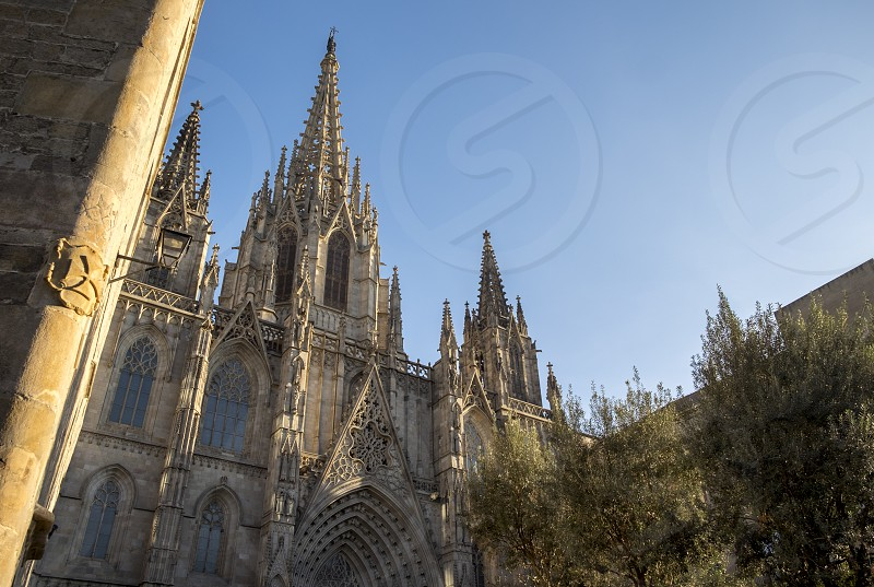 Cathedral of Barcelona in Gothic Quarter  Catalonia Spain photo