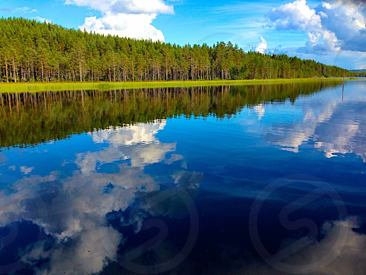 Reflection water trees forest nature sky cloud blue sky blue outside  photo