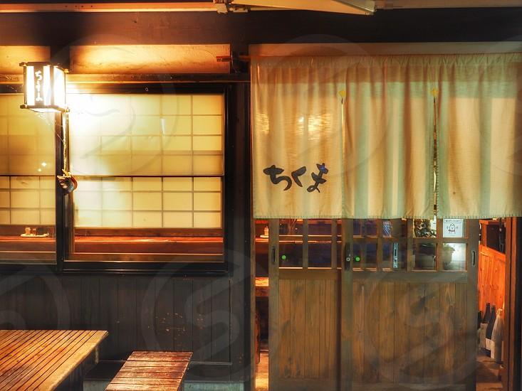 open brown wooden slide door photo