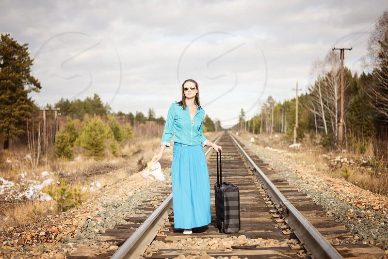 girl on the railway photo