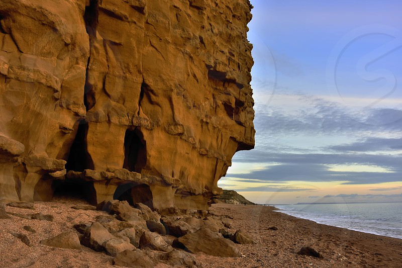 Fast eroding Bradstock cliffsDorsetUnited Kingdom. photo