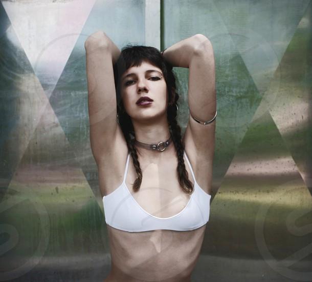 minimal geometry girl white naked. fashion photo