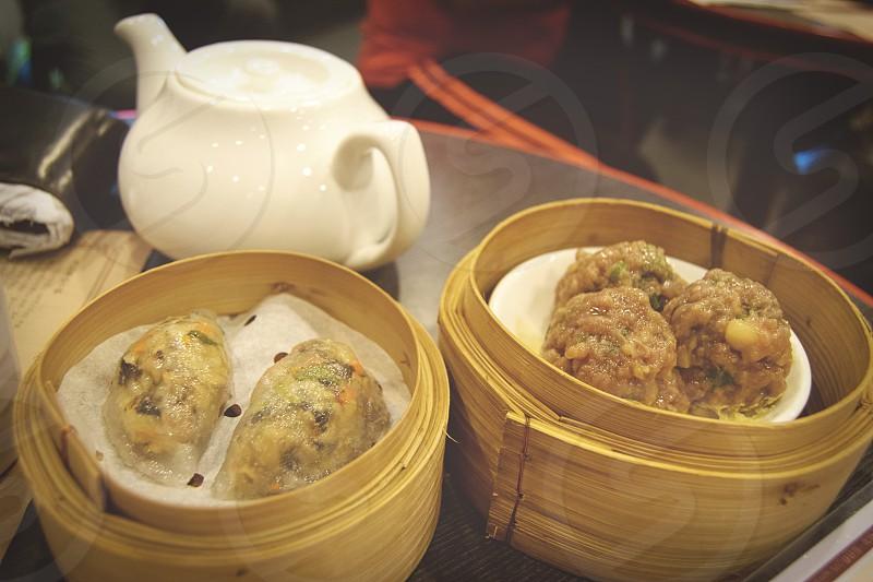 Dim sum Sweet Dynasty Hong Kong The Peak tea Chinese food bamboo steamers. photo