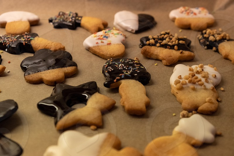 homemade cookies with chocolate coating for christmas time photo