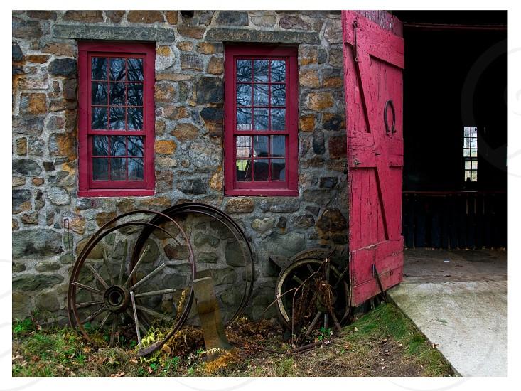 The blacksmith shop wagon wheel repair  photo