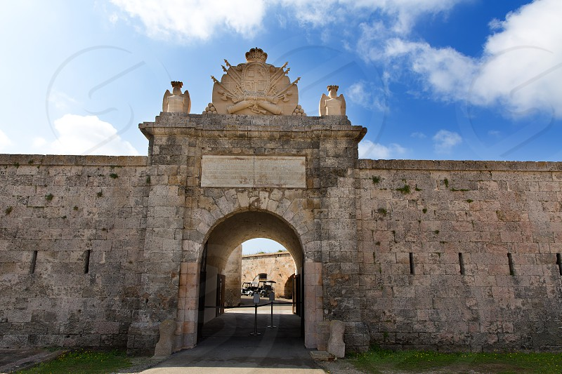 Menorca La Mola Castle fortress door in Mahon at Balearic islands photo