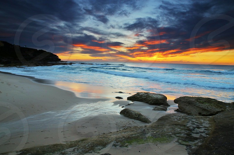 seashore on sunset view photo