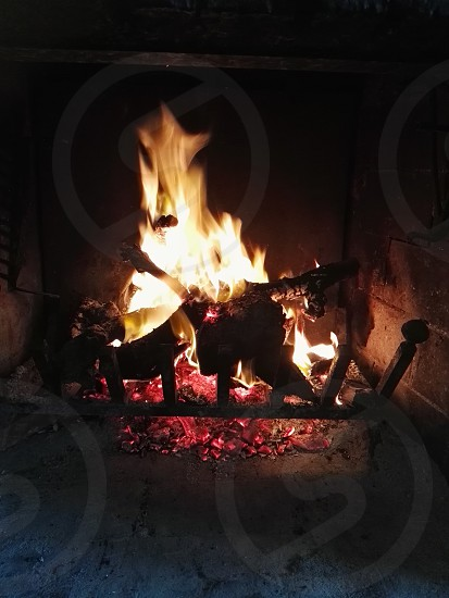 cut logs on fire at the fireplace photo