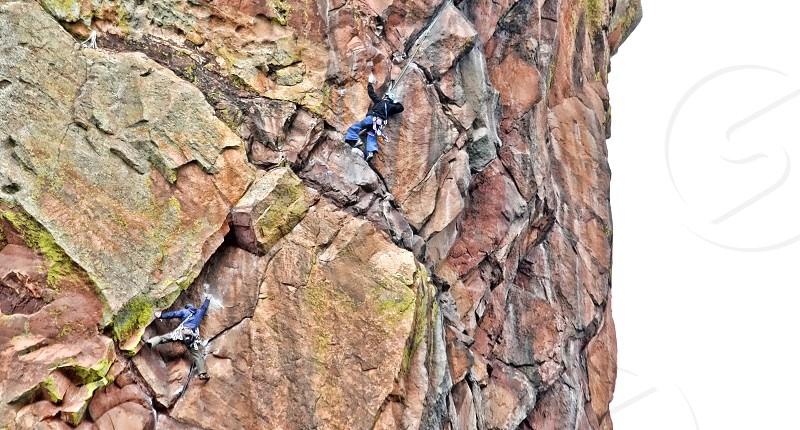 Rock climbers in Colorado's Eldorado State Park near Boulder photo