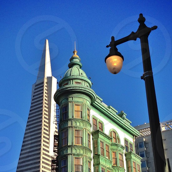 The Transamerica Pyramid and the Columbus Tower in San Francisco California  photo